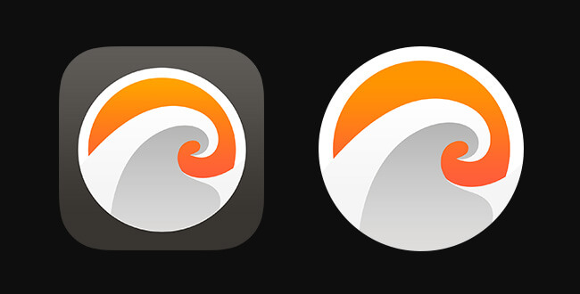 An example of how the icon for Breaking could be re-imagined for the Apple Watch. Notice the rescaling of the core shape.