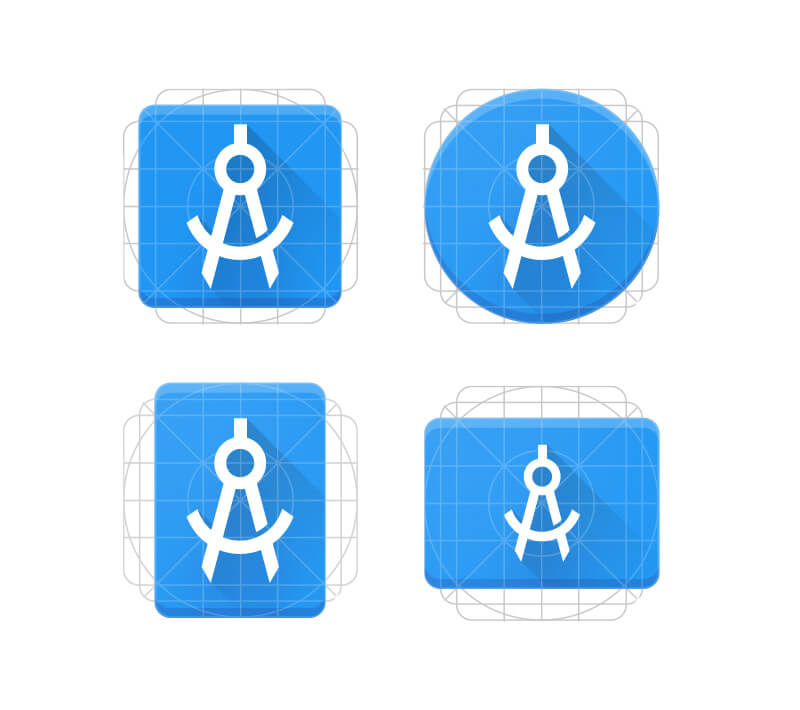 The standardized Android Product Icon Keyline shapes, all bundled in the latest template.